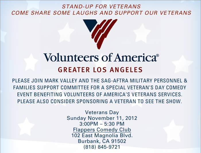 VOALA Stand Up for Veterans November 11th, 2012 at 4:00PM Flappers Comedy Club Burbank